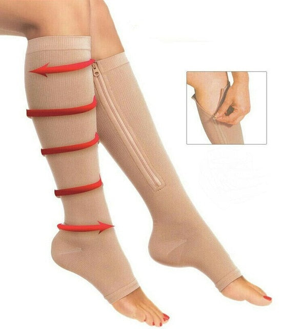 Comfortable Relief Soft  Zip Socks  Anti-Fatigue Compression Socks Leg Support Medical Socks Unisex