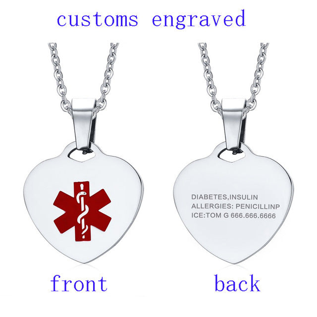 Vnox 316l Stainless Steel Heart-shape Medical Alert ID Tag Necklace & Pendant for Women Personalized Gift