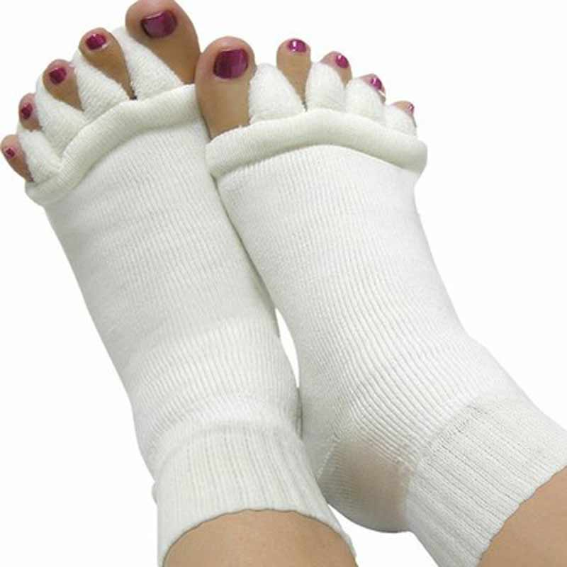 3Pairs Pedicure Sock Five Toe Separator Socks Toe Massage SPA Yoga Foot Alignment Socks For Pain Relief Bunions Women Footcare