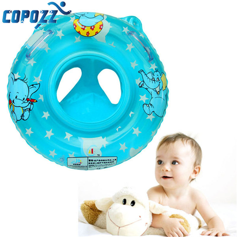 PVC Health Soft Inflatable Baby Child Swimming Seat Double Handle Thicken Float Ring Baby Swimming Neck Float Ring Pool 2 Colors