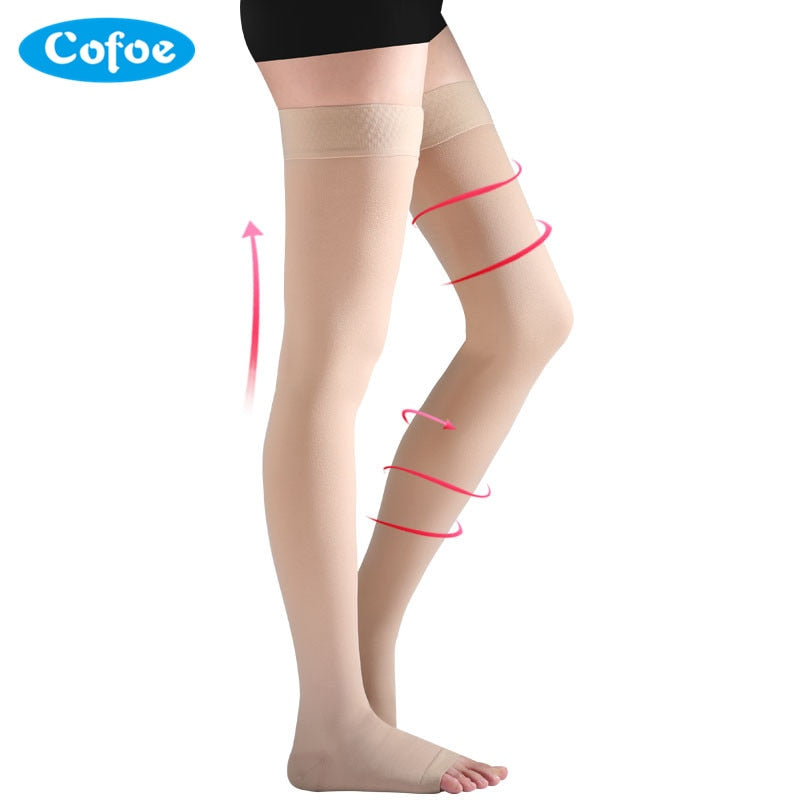Cofoe A Pair Compression Stockings Varicose Veins 23-32mmHg Pressure Level 2 mid-Calf length Medical Socks for Beautiful Women