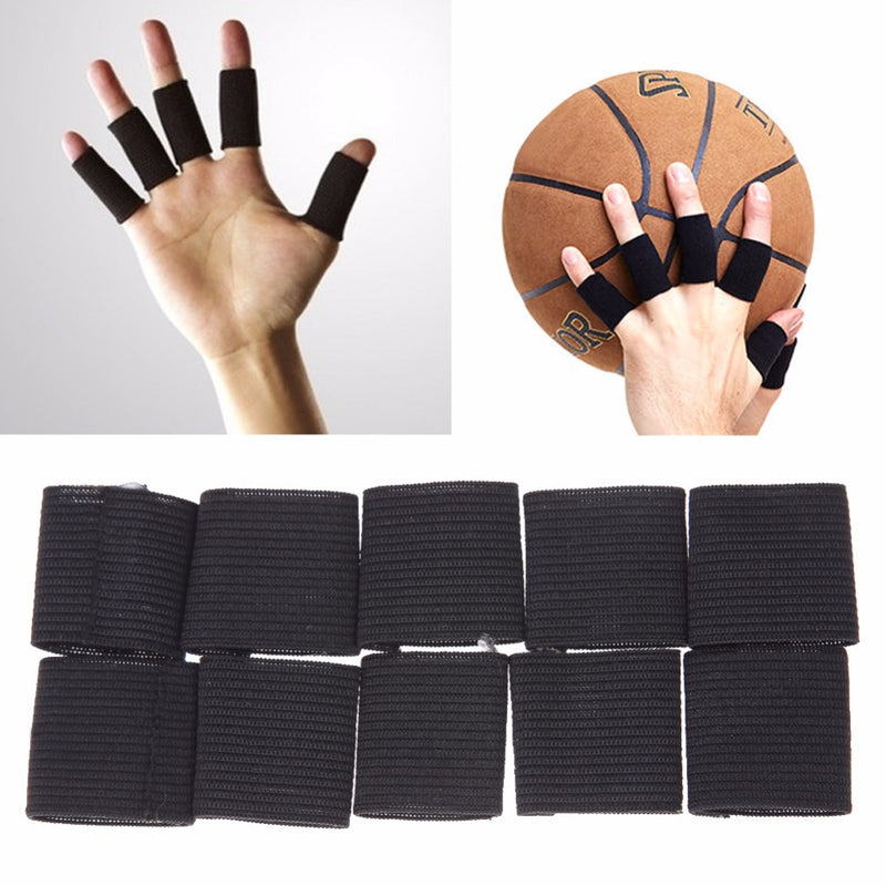 10pcs Stretchy Sports Finger Sleeves Arthritis Support Finger Wrap Guard Outdoor Basketball Beach Volleyball Finger Protection