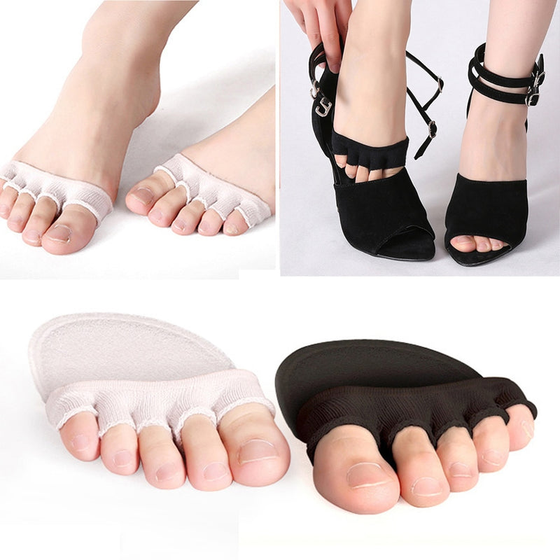 1Pair 5 Toes Breathable Cotton Sponge Half Insoles Pads Cushion Metatarsal Sore Forefoot Support Massage Toe Socks foot care