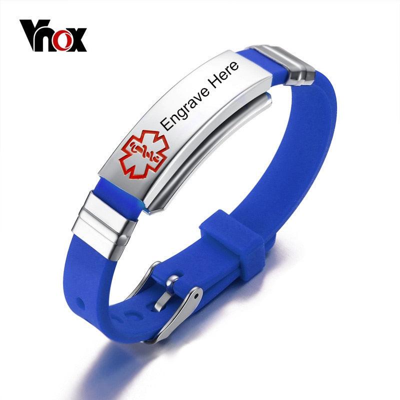 Vnox Free Engraving Medical Alert Bracelet Stainless Steel and Rubber ID Bracelet Bangle 5 Colors