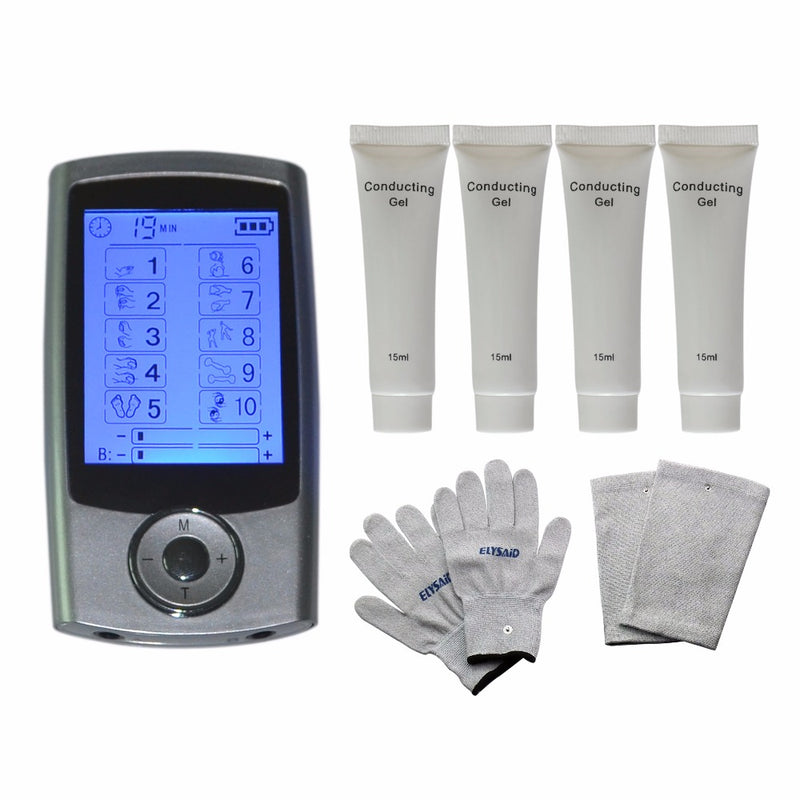 10Modes TENS Physiotherapy Healthcare Massager Muscle Relax Smoothing+1Pair Massage Gloves+1Pair Knee Pads+4Pcs Conducting Gels