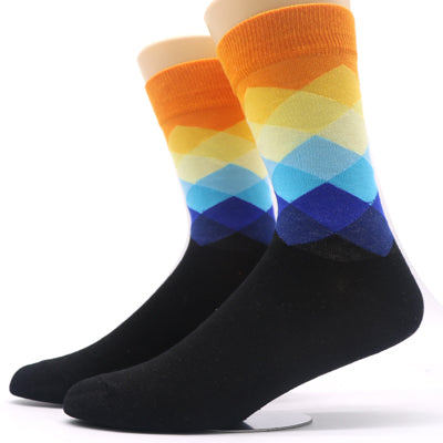 1pair Men's Funny Socks Gradient Color Cotton Socks Art Casual Dress Crew Socks for Male Geometry Novelty Compression Sock Meias