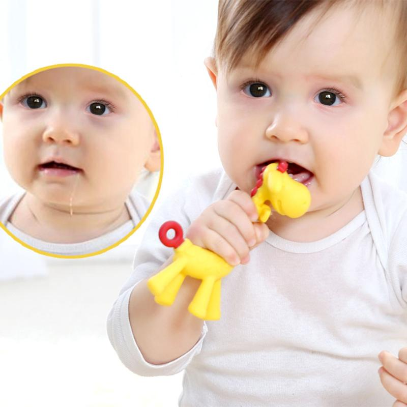 Baby Teethers Yellow Cute Giraffe Gum Tooth Stick Silica Gel Teething Dental Care Silicone Teething For Babie Hanging Toy