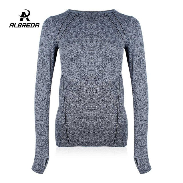 ALBREDA Spring Autumn Women Yoga Shirt Sports Fitness Women Running Gym Clothes For Women Solid Long Sleeve Base Shirt Fitness