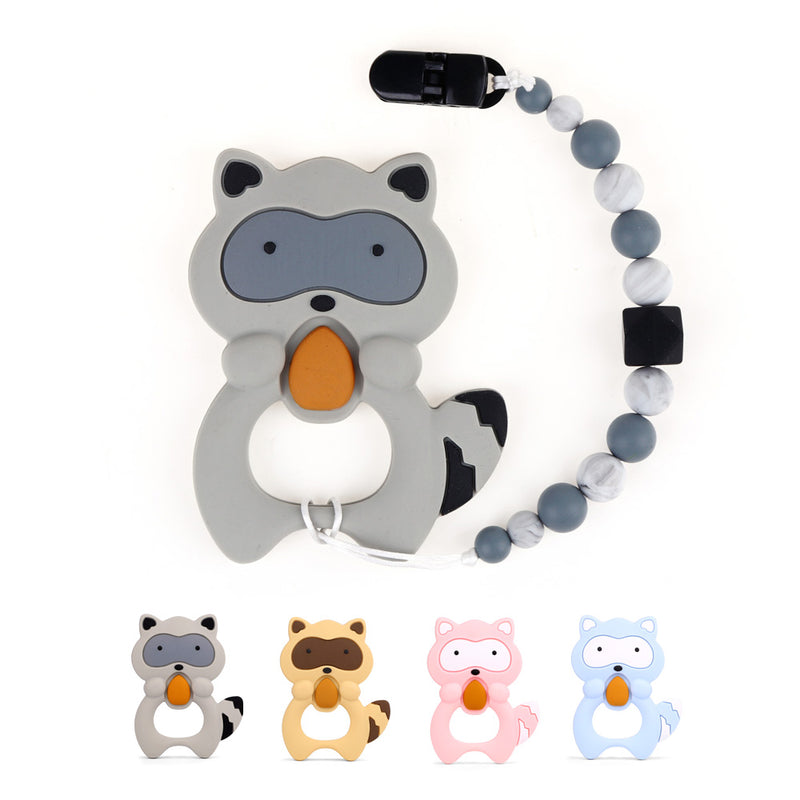 TYRY.HU 1 set Raccon Teether With Pacifier Clips  Silicone Teething Bead Soother Chain Teething Pain Relief Baby Gift BPA Free