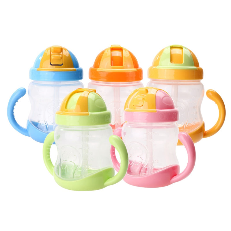 280ml Baby Feeding Bottle Cup Child Kids Silicone Training Drinking Water Cups Straw Handle Feeding Bottles Baby Care Products