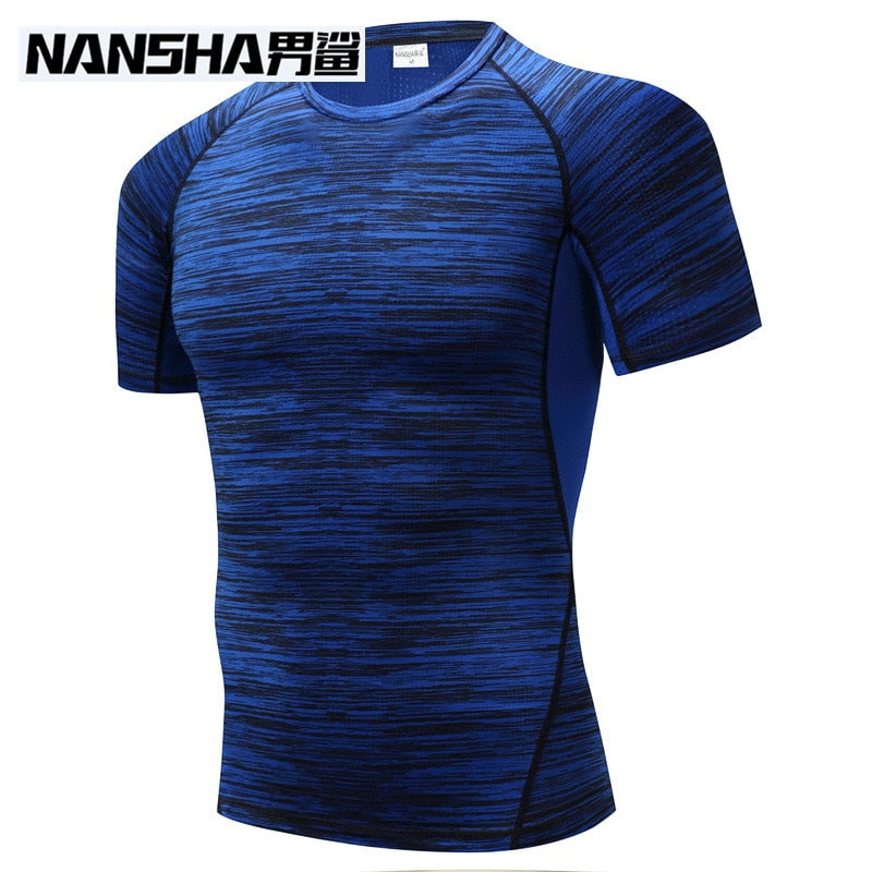 NANSHA Brand Clothing Men's Short Sleeve T-shirts Compression Shirt Crossfit T-shirt Men Workout 3D Fitness Tights Top