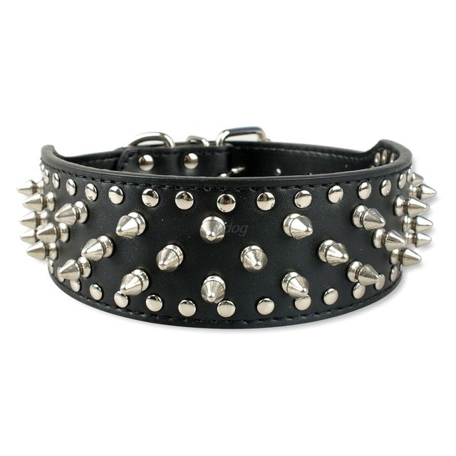 2 inch Wide Spiked Dog Collar Studded Leather Dogs Collars for Medium Large Breeds Dogs Pitbull Mastiff Boxer Bully Black