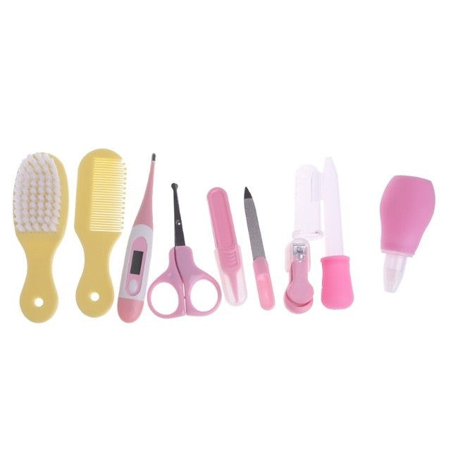 10pcs/Set Baby Care Products Newborn Baby Kids Nail Hair Health Care Thermometer Grooming Brush Kit