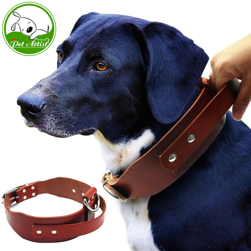 "Heavy duty Brown Leather Dog Training Collars with Handle For Medium Large Dogs Pitbull Doberman Neck Size 17-21"" Adjustable"