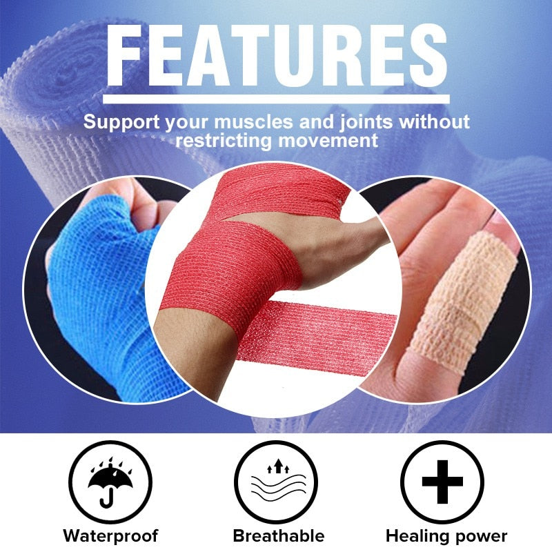KIFIT 450x5cm Self Adhesive Elastic Bandage First Aid Medical Health Care Gauze Tape 9 Colors Waterproof And Breathable