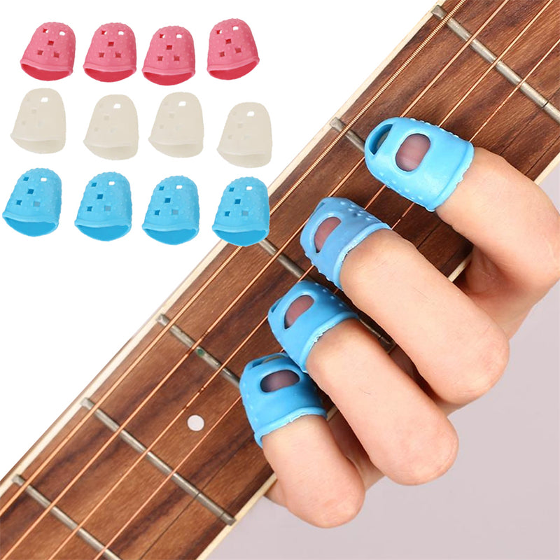 Yuker 4Pcs Fingertip Protector Fingerstall Silicone Guitar String Finger Guard Hand Against the Press Sore Finger Ballad