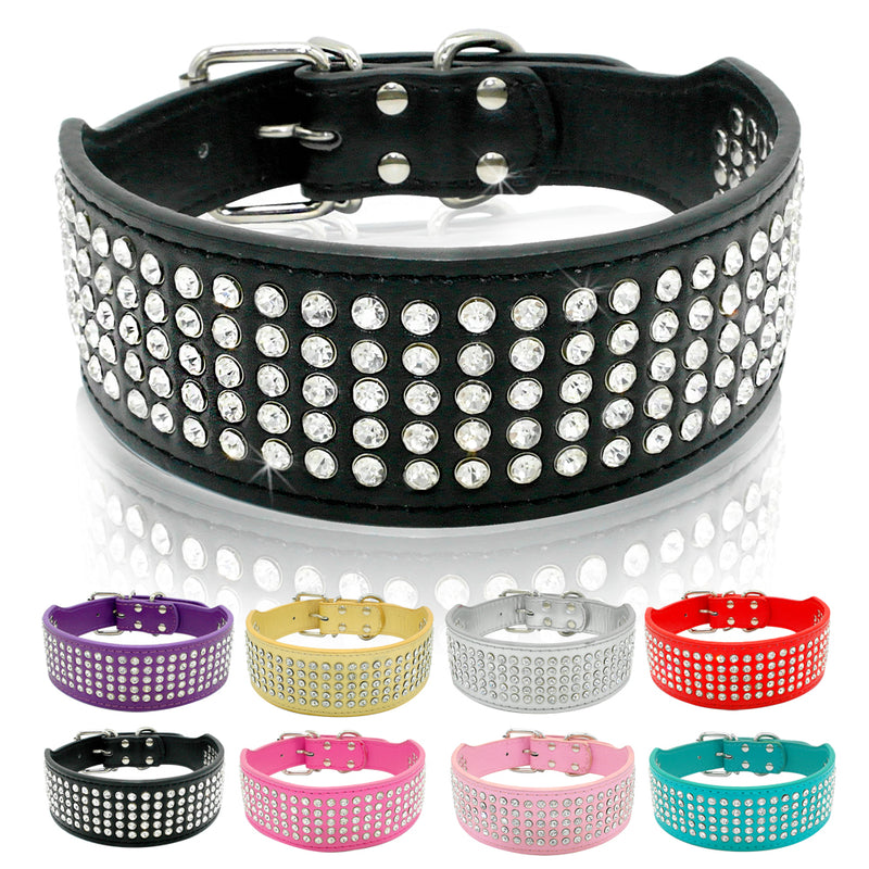 Rhinestone Leather Dog Collars Full Diamante Crystal Studded Dogs Pet Collars 2inch Wide for Medium & Large Dogs Pitbull Boxer