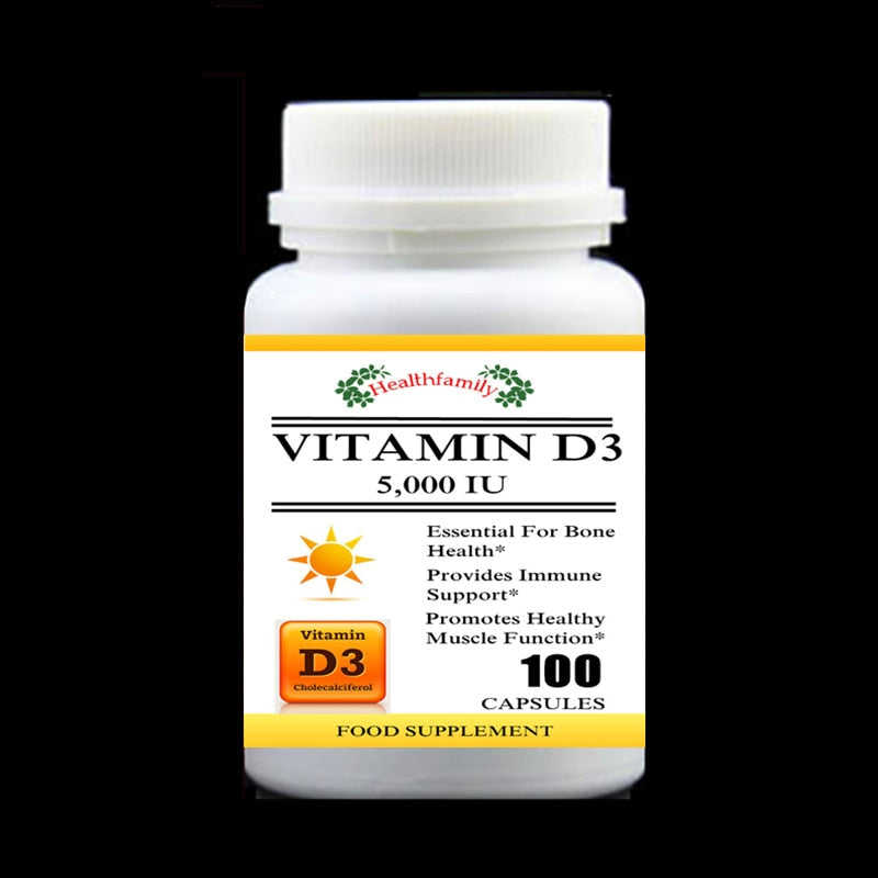 5,000IU Vitamin D3(Cholecalciferol) Supplement,Essential for Bone Growth,Provide Immune Support & muscle gowth,100pcs/bottle