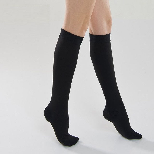 Yienws Medical Compression Stocking Women Over Knee Socks 25-30 mmHg Varicose Veins Open Toe Stockings Thigh High YiG039