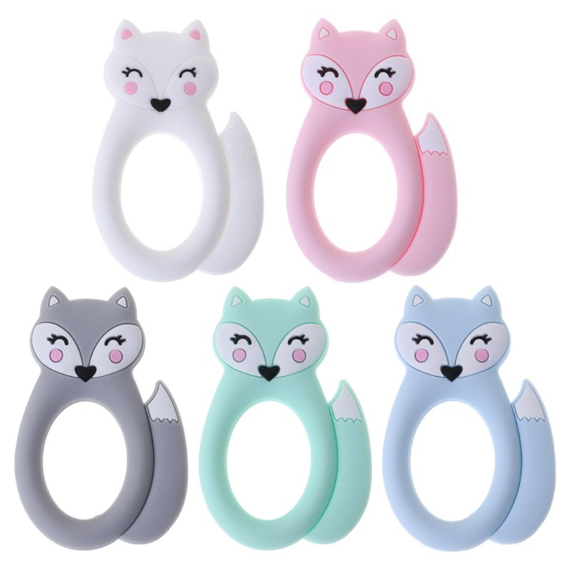 Baby Teether DIY Necklace Teething Toys Teeth Massage Pain Relief Pendant Fox Cartoon Pacifier Oral Care Dental Newborn Supplies