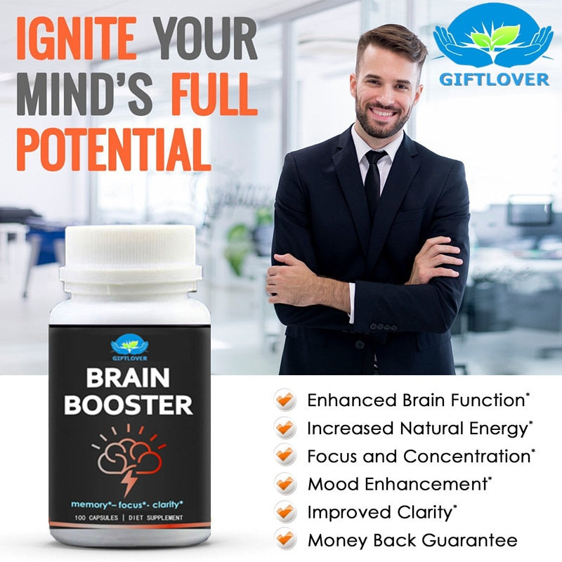 Brain Booster for Premium Brain Function,Supports Memory with Focus & Clarity,Formula for Optimal Performance,Ginkgo Biloba,DMA