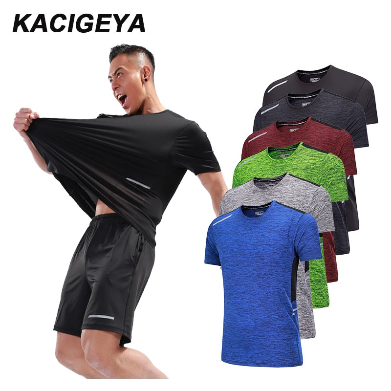 Men Workout T Shirts Quick Dry Short Sleeve Outdoor Training 2018 Sportswear Tee Breathable Mesh Running Bodybuilding Shirt Man