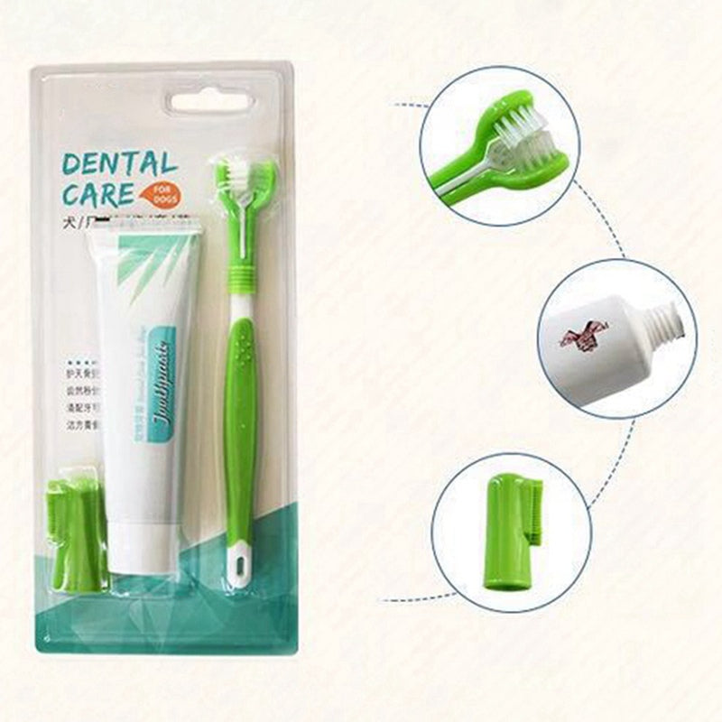Pet Toothbrush Set Hot Puppy Vanilla/Beef Taste Toothbrush Toothpaste Dog Cat Finger Tooth Back Up Brush Care Wholesales