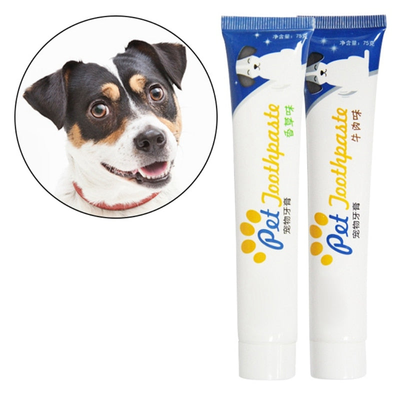 Pet Dog Vanilla Beef Taste Toothpaste Dog Healthy Edible Toothpaste For Finger Tooth Back Up Brush Care Wholesales
