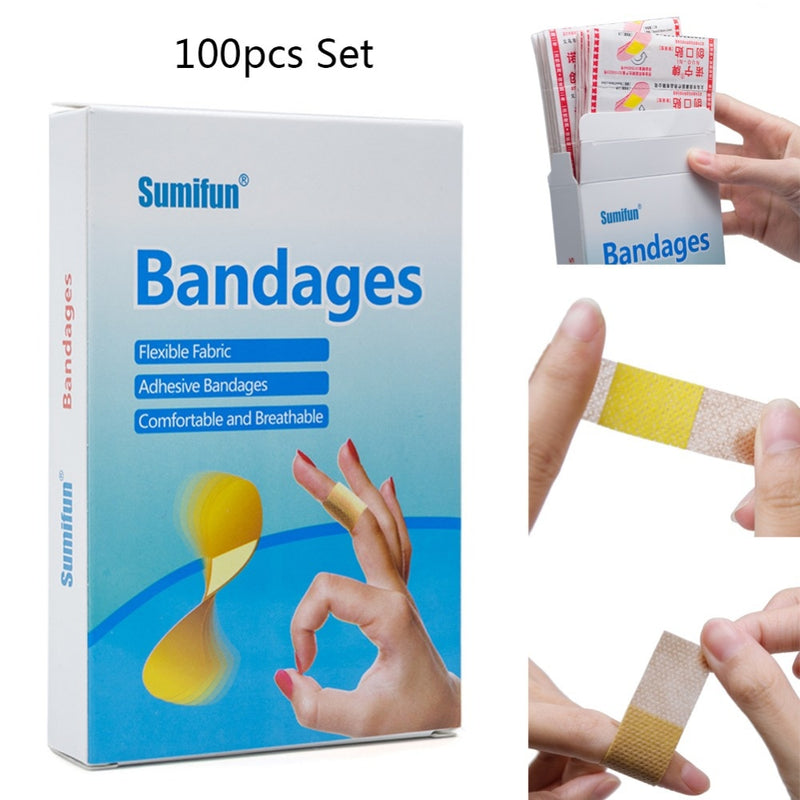100 Pcs Medical Anti-bacteria Curative Wound Adhesive Paste Band Aid Bandage Sitcker For First Aid Kit Waterproof