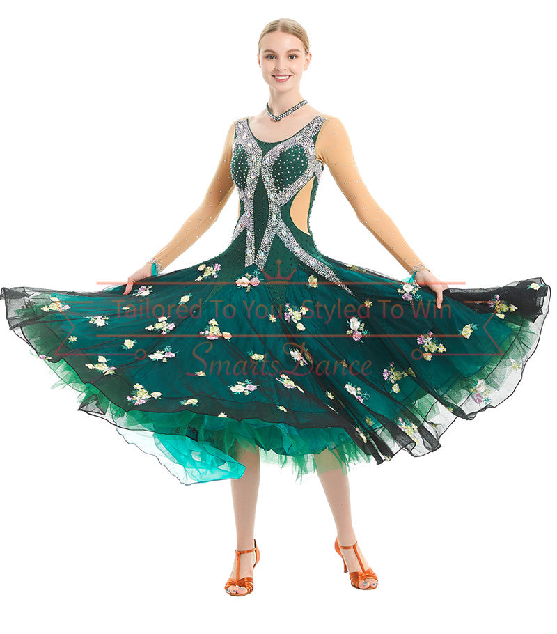 f83df63339b 2019 Gorgeous Green Ballroom Smooth Competition Dance Dress SD-BD70 -  Smarts Dance