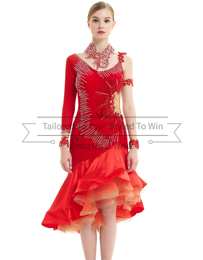 729d592a6 Red Latin Dance Costumes Salsa Latin Rhythm Competition Costumes SD-LD05 -  Smarts Dance
