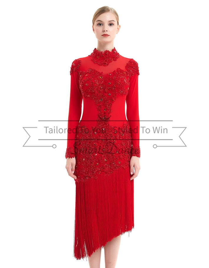 1b9d9ee21d2 Tailor made Latin Rumba Salsa Dance Dress Rhinestones Red SD-LD04 ...