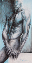 Load image into Gallery viewer, Amphibian Man - Original painting on canvas - 79x39in - Paula Craioveanu