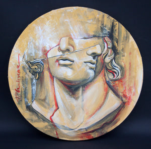 A Question of Time - Original painting on round canvas - Paula Craioveanu