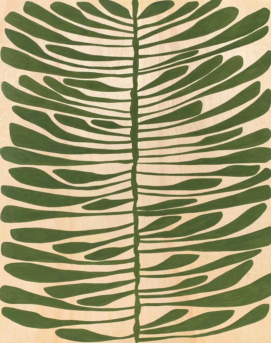 Pine Leaf (Gouache on Birch Panel)
