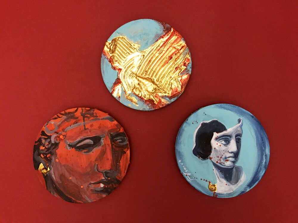 The Masks - Triptych - Original painting acrylic, gesso, gold leaf on round canvas - Paula Craioveanu