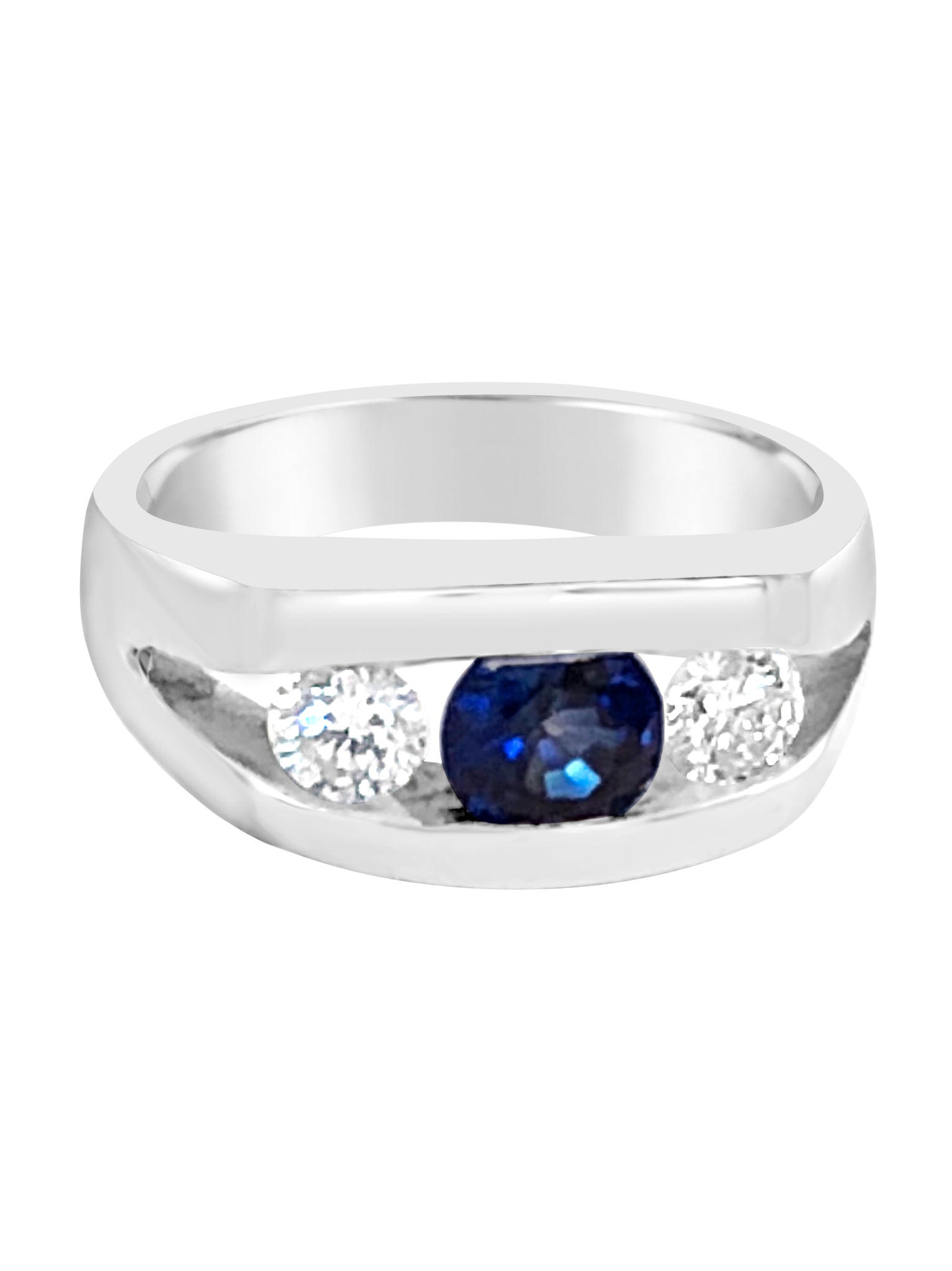 14k white gold 3 stone ring with sapphire and diamonds sapphire wedding band Michael's Jewelry Cape Cod Provincetown