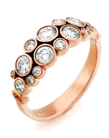 Diamond 18k Rose Gold Dome Ring