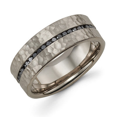 8mm wide hammered band with black diamonds handmade ring michael's fine jewelry provincetown