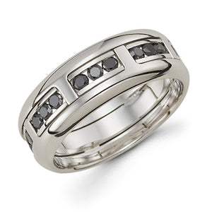 men's handmade band 14k white gold black diamond michael's jewelry cape cod jeweler provincetown