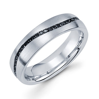 handmade men's band 14k white gold black diamond ring wave design michael's jewelry cape cod jeweler provincetown