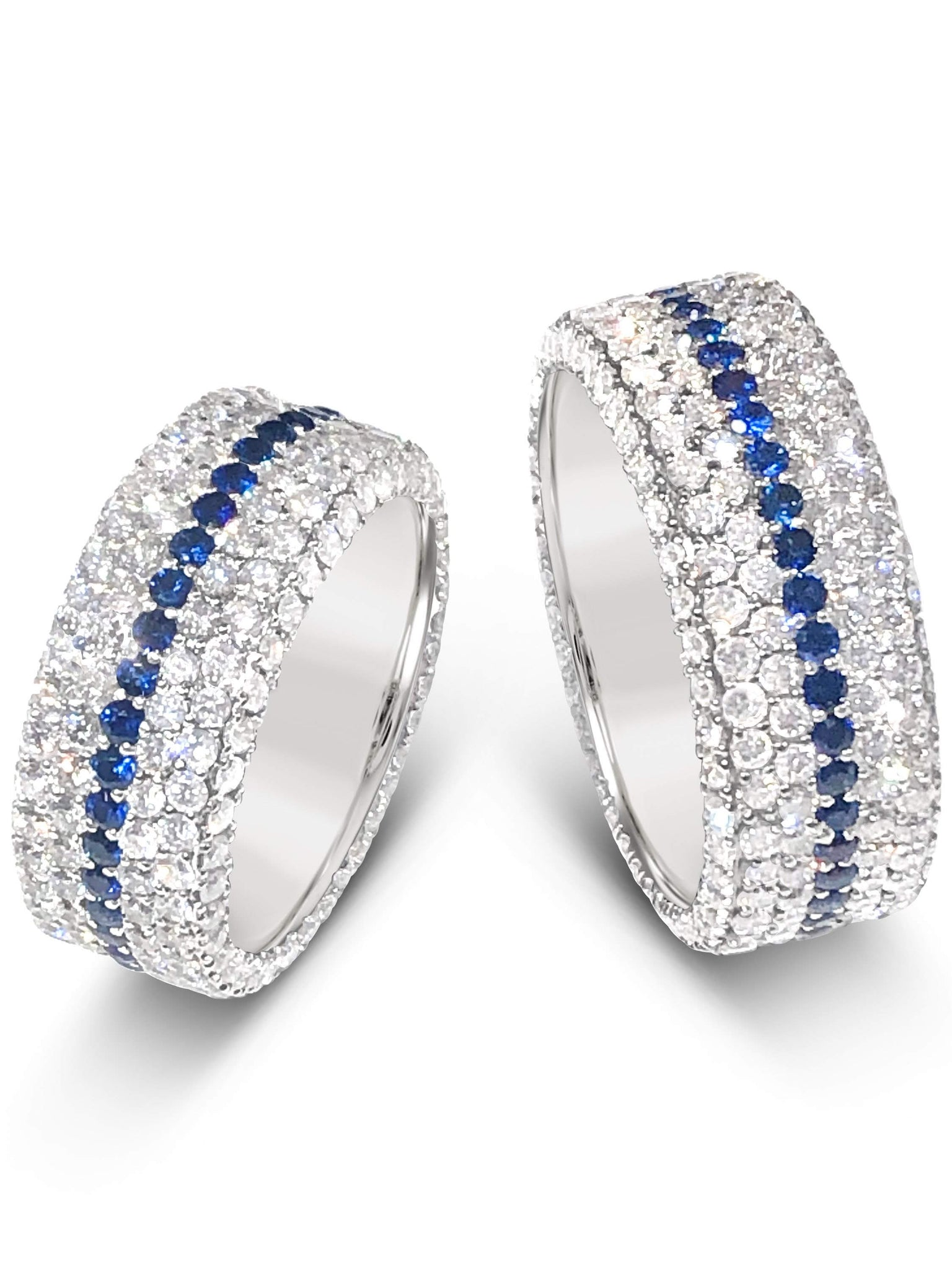 6598s white diamond band with blue sapphires, handmade by Michael's Custom Jewelers