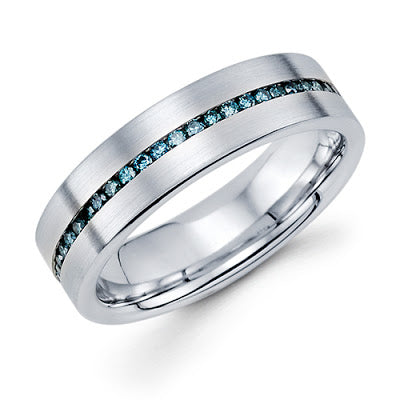 14k white gold men's handmade band with blue diamonds michael's jewelry cape cod jeweler provincetown