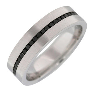 handmade band 14k white gold black diamond men's wedding band michael's jewelry cape cod jeweler provincetown