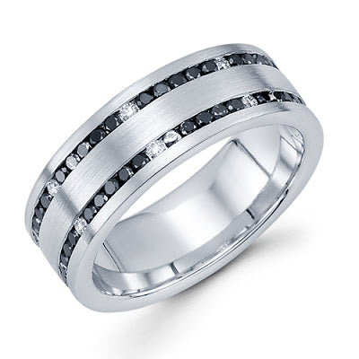 14k white gold black white diamonds handmade men's band michael's jewelry cape cod jeweler provincetown