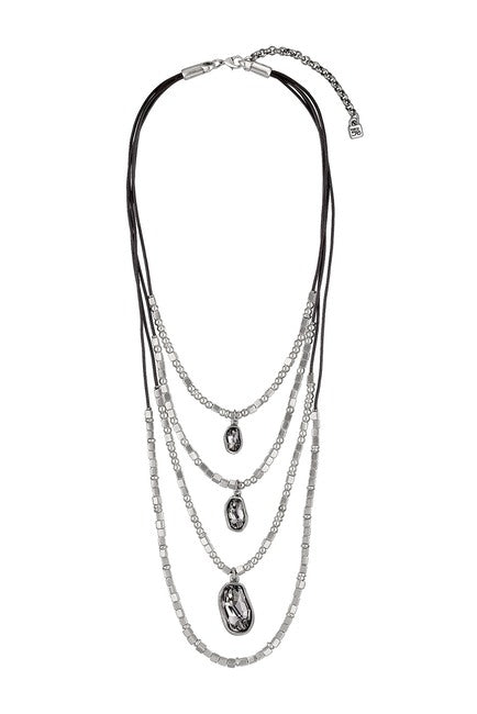 Unode50 jewelry And Yes necklace made in spain 4 strand leather necklace with swarovski crystals