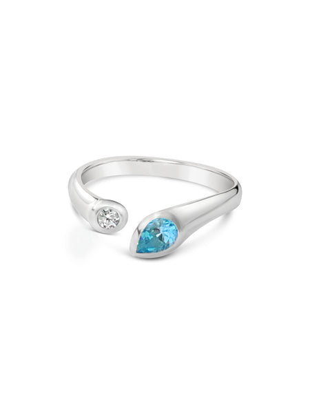 sterling silver blue topaz ring made for michael's custom jewelers in provincetown