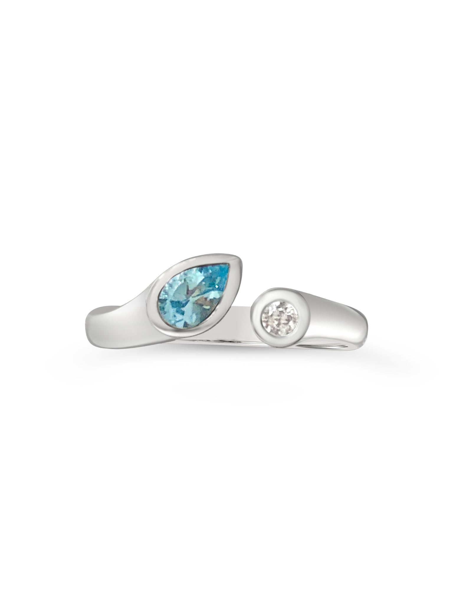 blue ice sterling silver ring with blue topaz
