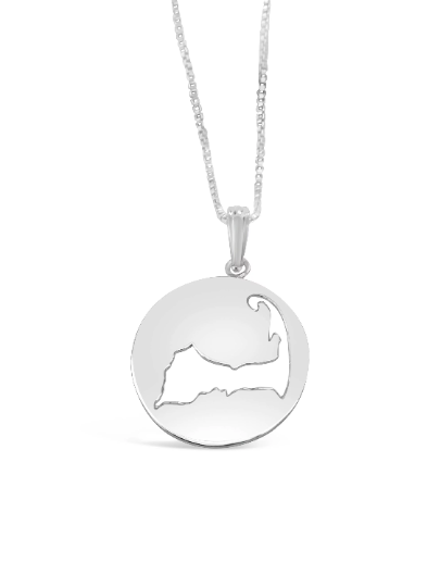 Cape Cod Map Cutout Necklace - 925 Sterling Silver