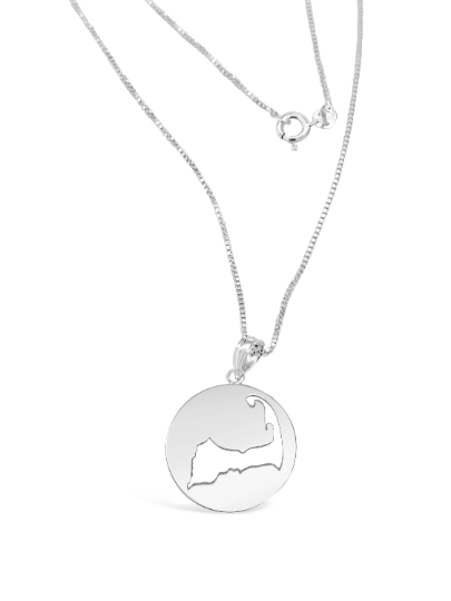 Cape Cod Map Necklace - Solid Silver
